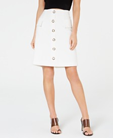 Nine West Button-Front A-Line Skirt