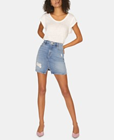 Sanctuary Leo Five-Pocket Denim Mini Skirt