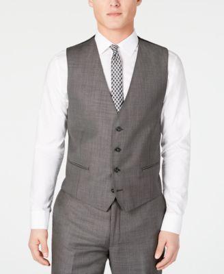 Men's X Slim-Fit Stretch Charcoal Mini Grid Suit Vest
