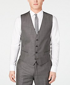 Men's X Slim-Fit Stretch Charcoal Mini Grid Suit Vest