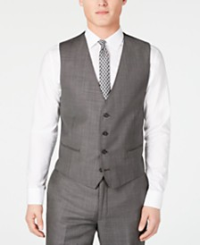 Calvin Klein Men's X Slim-Fit Stretch Charcoal Mini Grid Suit Vest