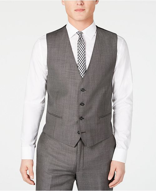 ccdebbbd27af ... Calvin Klein Men's X Slim-Fit Stretch Charcoal Mini Grid Suit Vest ...