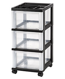 Iris Medium 3-Drawer Storage Cart with Organizer Top