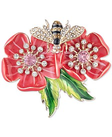 Anne Klein Gold-Tone Flower & Bee Crystal Flower Box Pin, Created for Macy's