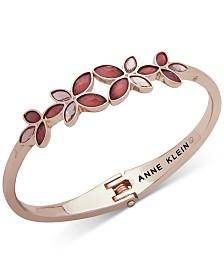 Anne Klein Rose Gold-Tone Flower Hinge Bracelet, Created for Macy's
