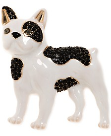 Anne Klein Gold-Tone Black & White French Bulldog Box Pin, Created for Macy's