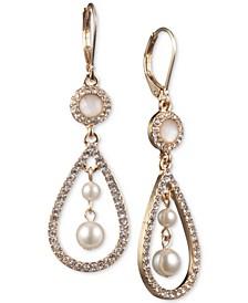 Gold-Tone Imitation Pearl Orbital Drop Earrings