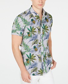 Club Room Men's Pineapple Printed Shirt, Created for Macy's