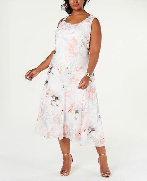 Plus Size Tea-Length Dress & Printed Jacket