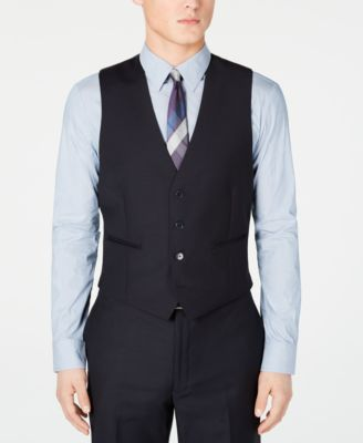 Men's Modern-Fit Midnight Blue Stripe Suit Vest