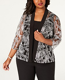 Plus Size Embroidered Jacket & Camisole