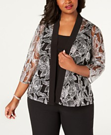 Alex Evenings Plus Size Embroidered Jacket & Camisole