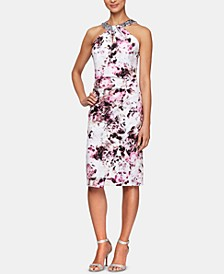 Embellished-Neck Printed Sheath Dress