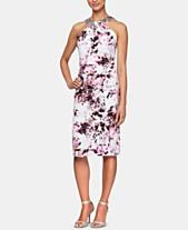 44d26b6bdbfbc Alex Evenings Petite Printed Embellished-Neck Sheath Dress
