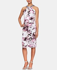 Alex Evenings Embellished-Neck Printed Sheath Dress
