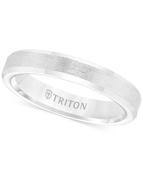 Triton Men's White Tungsten Carbide Ring, Wedding Band (3mm)