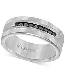 Men's Tungsten and Sterling Silver Ring, Channel-Set Black Diamond Accent Wedding Band