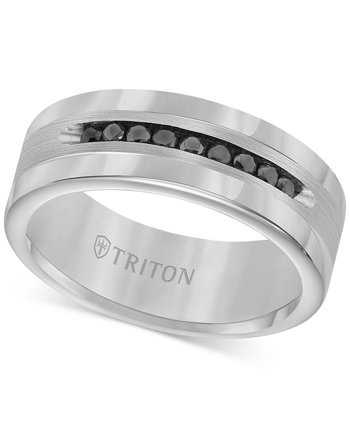 Triton - Men's Tungsten and Sterling Silver Ring, Channel-Set Black Diamond Accent Wedding Band