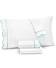 Martha Stewart Collection Signature Scallop 4-Pc. Queen Sheet Set, 400 Thread Count 100% Cotton Percale, Created for Macy's