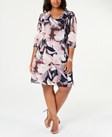 Connected Plus Size Floral-Print A-line Dress