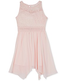 Big Girls Plus Lace Handkerchief Hem Dress