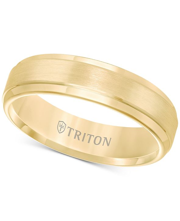 Triton Comfort-Fit 6mm Wedding Band in Yellow Tungsten Carbide