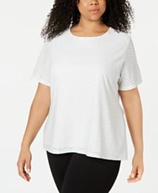 Calvin Klein Plus Size Textured Metallic T-Shirt