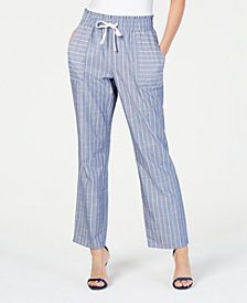 NY Collection Petite Striped Pull-On Pants