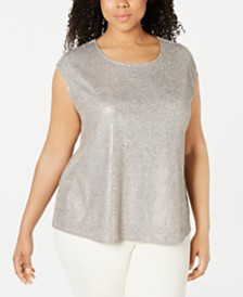 Calvin Klein Plus Size Embellished Metallic Top