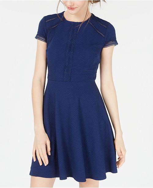 City Studios Juniors' Textured Lace-Trim Fit & Flare Dress