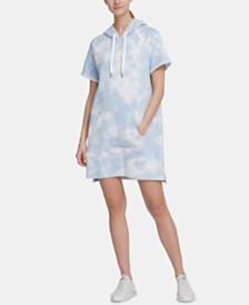 DKNY Sport Tie-Dyed Logo Hoodie Dress