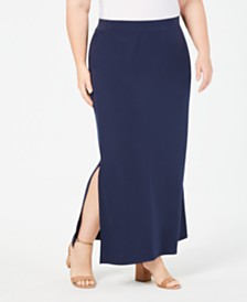 JM Collection Plus Size Side-Slit Maxi Skirt, Created for Macy's
