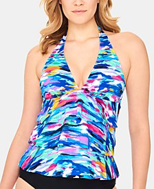 Winning Streak Ruffled Halter-Neck Tankini Top, Created For Macy's
