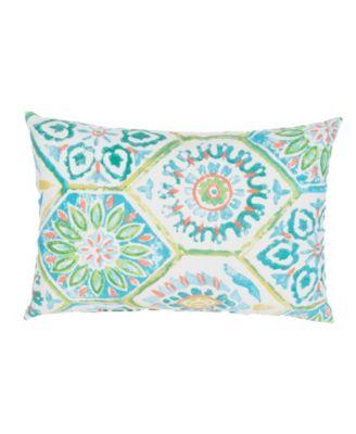 """Summer Breeze Aqua/White Floral Indoor/Outdoor Throw Pillow 13"""" x 18"""""""