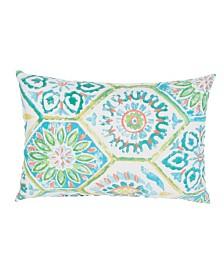 "Jaipur Living Summer Breeze Aqua/White Floral Indoor/Outdoor Throw Pillow 13"" x 18"""
