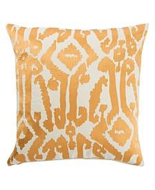 "Luli Sanchez By Jaipur Living Roux Gold/White Ikat Poly Throw Pillow 18"""