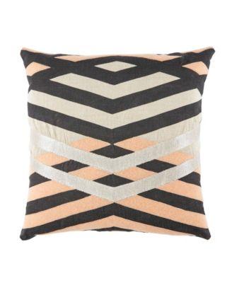 Nikki Chu By Averil Cream/Pink Geometric Down Throw Pillow 22