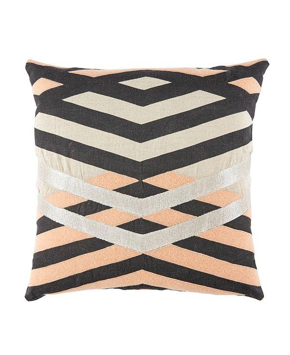 "Jaipur Living Nikki Chu By Averil Cream/Pink Geometric Down Throw Pillow 22"""