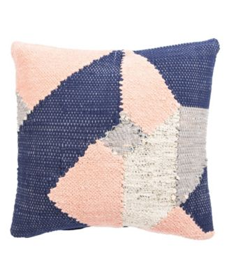Nikki Chu By Tanis Blue/Pink Geometric Poly Throw Pillow 22