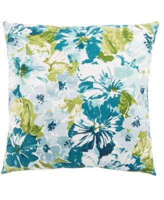 "Summer Garden Teal/Green Floral Indoor/ Outdoor Throw Pillow 20"""