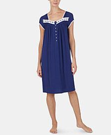 Eileen West Lace-Trim Knit Waltz-Length Nightgown
