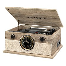 6-in-1 Brookline Bluetooth Record Player with 3-Speed Turntable, CD, Cassette Player and AM/FM Radio
