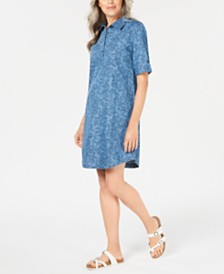 Karen Scott Petite Paisley Cotton Chambray Shirtdress, Created for Macy's