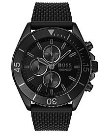 Men's Chronograph Ocean Edition Black Stainless Steel Mesh Bracelet Watch 46mm
