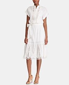 Lauren Ralph Lauren Scalloped Cotton Dress, Created for Macy's