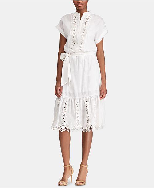 Lauren Ralph Lauren Scalloped Cotton Dress, Created for Macy's