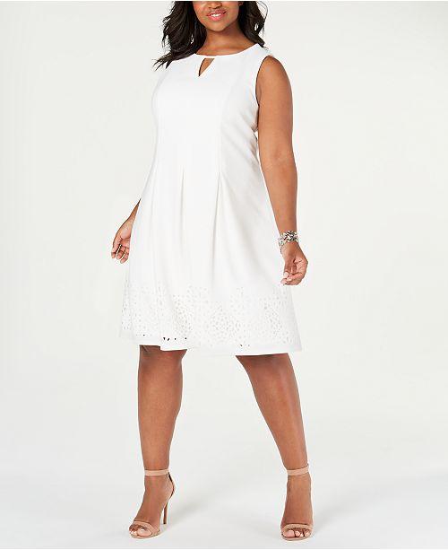 Plus Size Laser-Cut Fit & Flare Dress