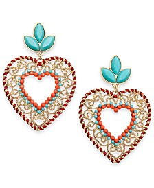 Thalia Sodi Gold-Tone Heart Stone & Filigree Heart Drop Earrings, Created for Macy's