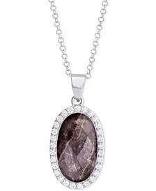 "Labradorite (4-1/2 ct. t.w.) & Cubic Zirconia 18"" Pendant Necklace in Sterling Silver (Also Available in Amethyst, Aqua Quartz and Rose Quartz)"