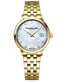 Women's Swiss Toccata Diamond-Accent Gold-Tone Stainless Steel Bracelet Watch 29mm